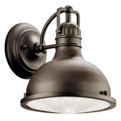 Hatteras Bay 9.5 in. 1-Light Olde Bronze Outdoor Integrated LED Wall Mount Sconce with Clear Fresnel Lens