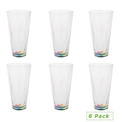 16 oz. Clear Rainbow Tumbler, Acrylic Drinking Glass, Shatter-Resistant Plastic, Kitchenware, Drinkware (6-Pack)