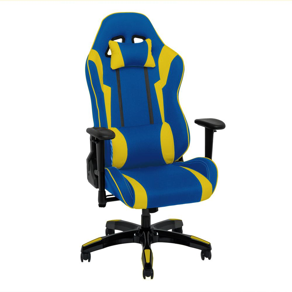 Blue and Yellow High Back Ergonomic Office Gaming Chair with Height
