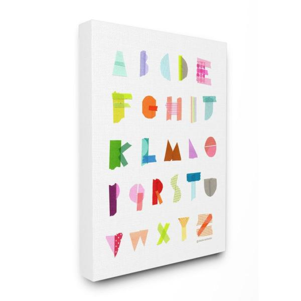16 in. x 20 in. ''Alphabet Paper Collage'' by Maria Carluccio Printed Canvas Wall Art