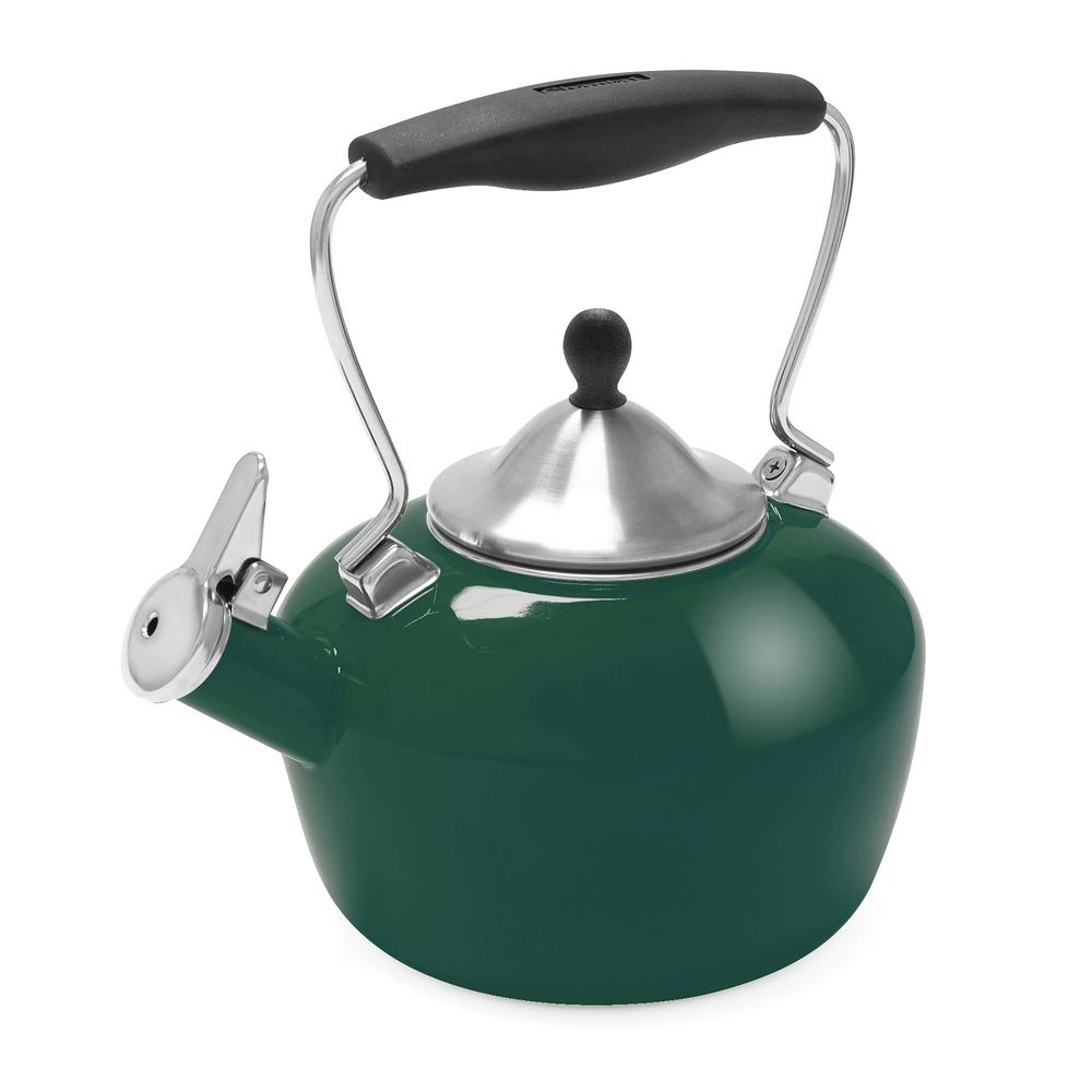 Catherine 7.2-Cups Enamel-on-Steel Brunswick Green Tea Kettle