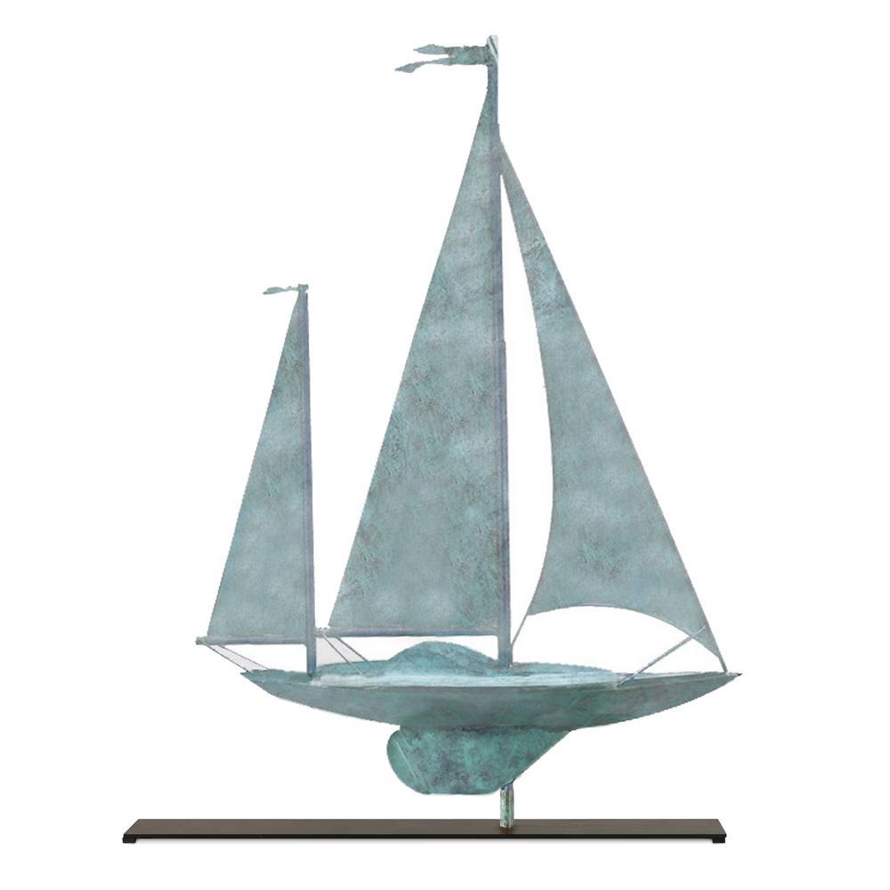 Yawl Blue Verde Copper Table Top Sculpture - Nautical Home Decor