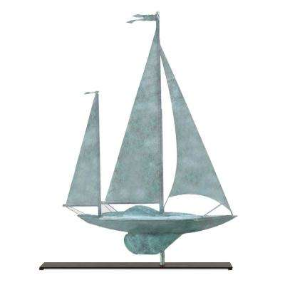 Yawl Blue Verde Copper Table Top Sculpture - Nautical Home Decor