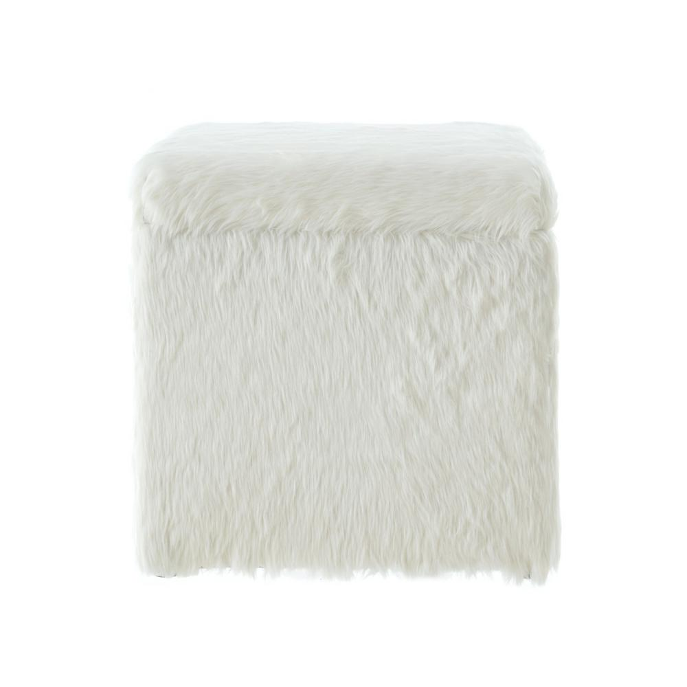 Admirable Inspired Home Ryleigh White Faux Fur Cube Storage Ottoman Andrewgaddart Wooden Chair Designs For Living Room Andrewgaddartcom