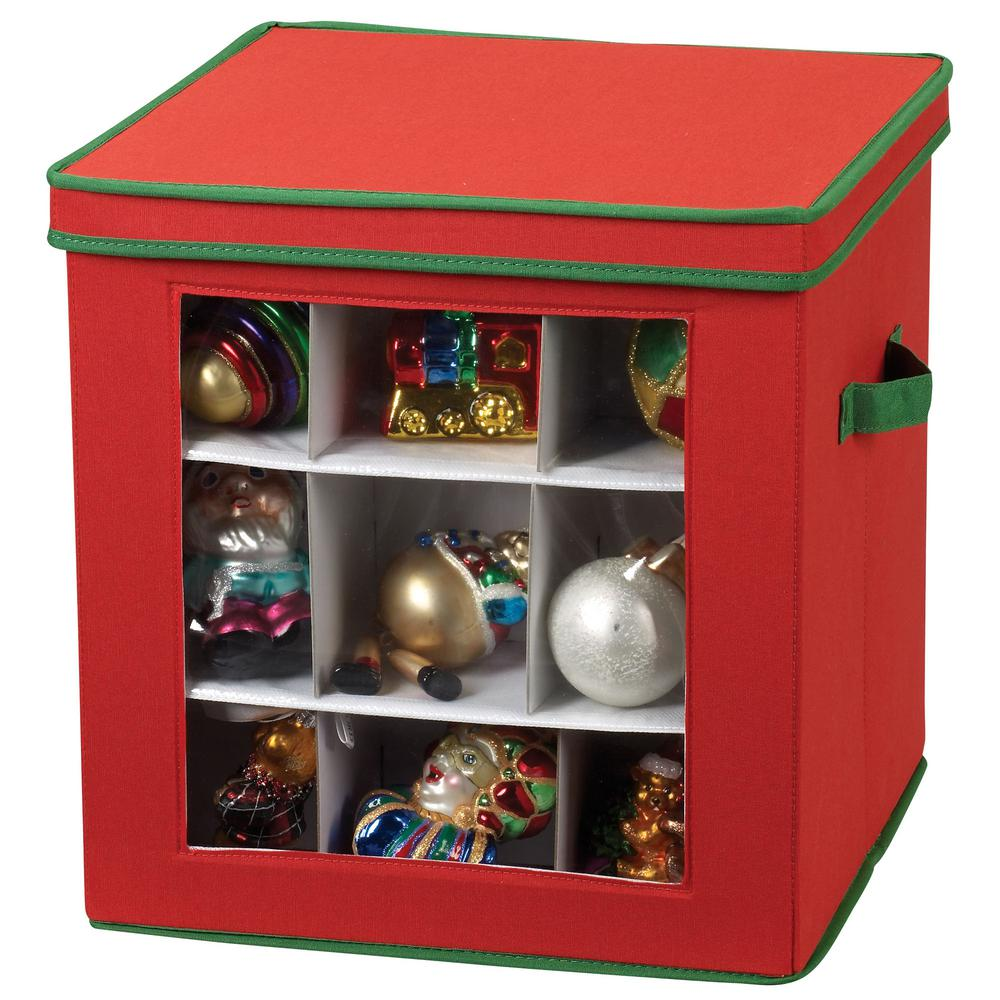 Christmas Ornament Storage.Household Essentials Holiday Ornament Cube Red With Green Trim 27