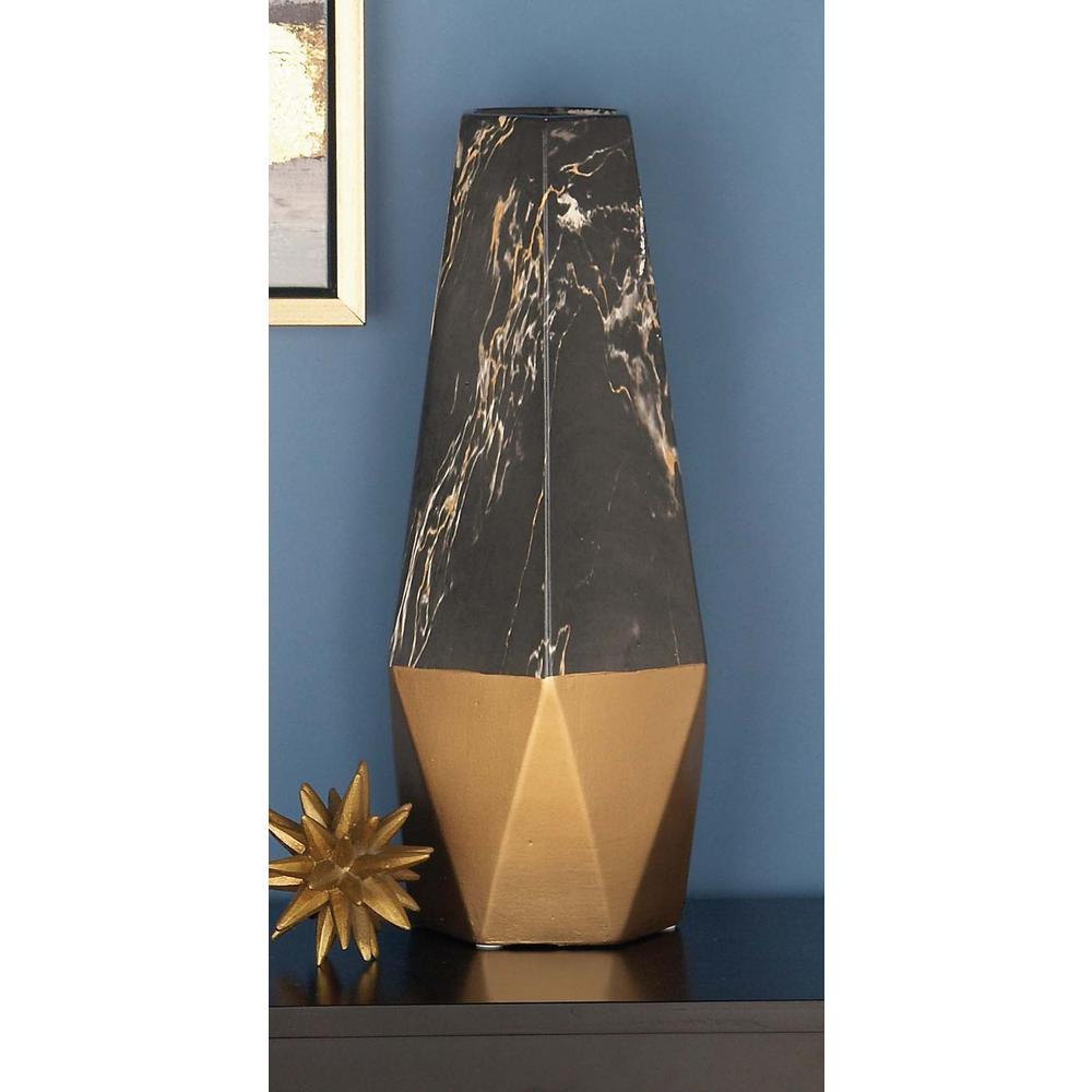 18 in. x 7 in. Ceramic Black and Gold Vase