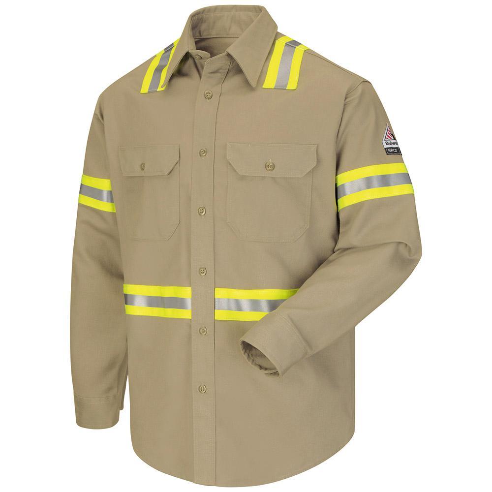 EXCEL FR ComforTouch Men's Large (Tall) Khaki Enhanced Vis Long Sleeve