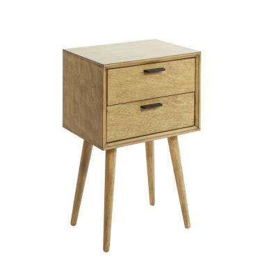 Olsen Natural Mid-Century 2-Drawer Accent Table