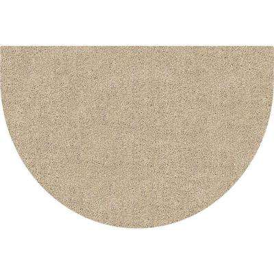 DirtStopper Brown and White 24 in. x 39 in. Half Round Absorbent Mat