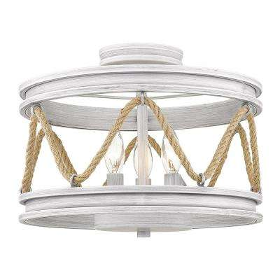 Chatham 14 in. 2-Light Gray Driftwood Semi-Flush Mount
