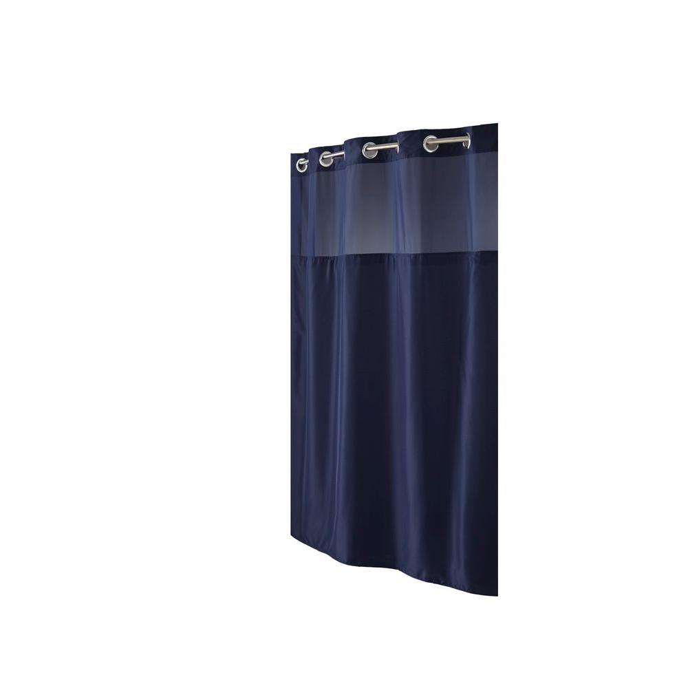 Hookless Shower Curtain in Mystery Navy with Snap Liner