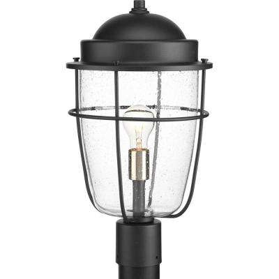 Holcombe Collection 1-Light Outdoor Black Post Lamp