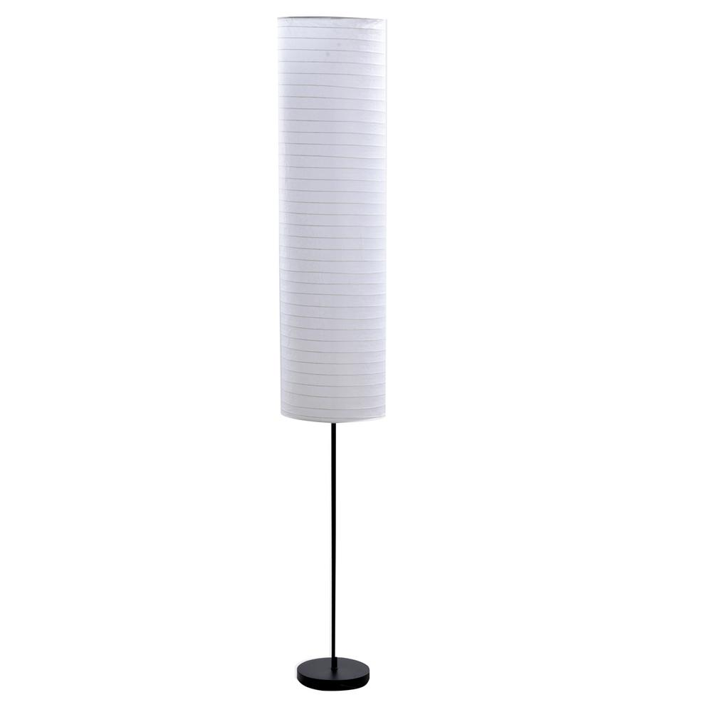 40.5 in Black Metal Floor Lamp with White Rice Paper Shade