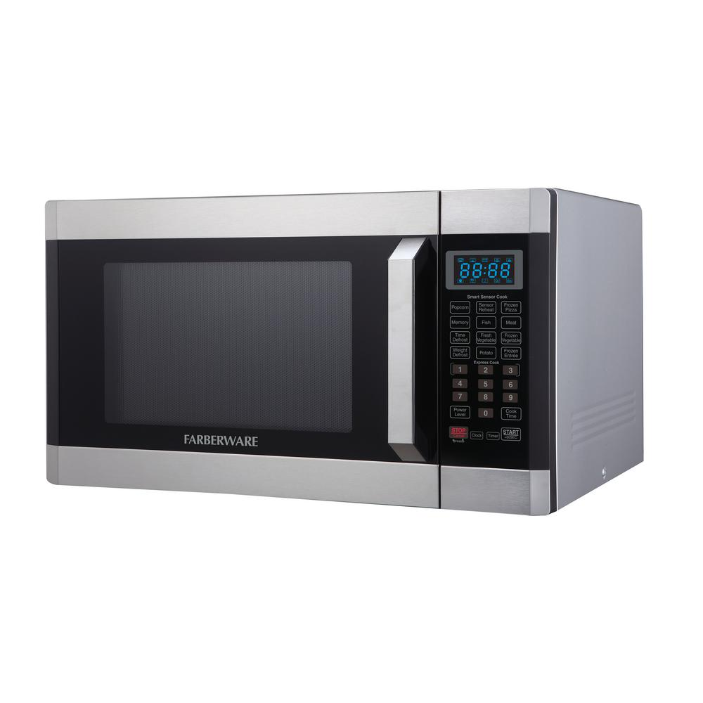 Farberware 1 6 Cu Ft 1100 Watt Countertop Microwave Oven With Smart Sensor In Stainless Steel Platinum