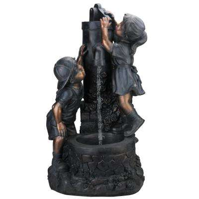 29 in. Children at the Water Pump Well Outdoor Patio Garden Water Fountain