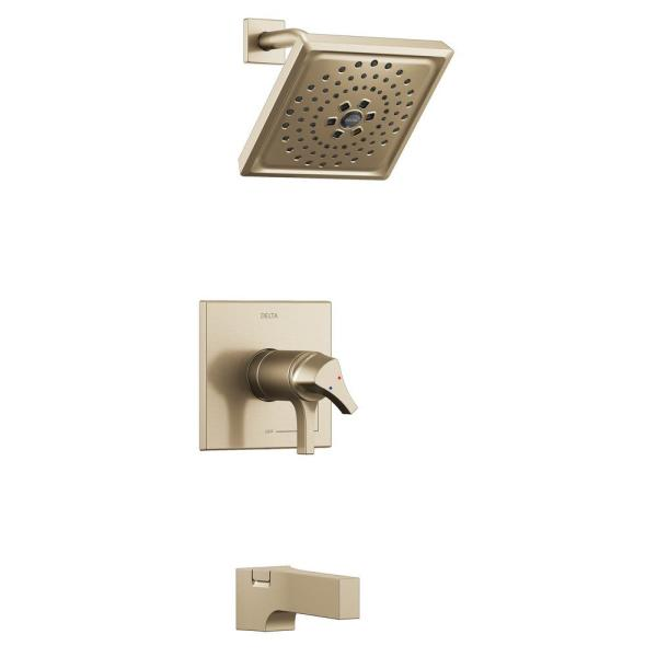 Zura TempAssure H2Okinetic Wall Mount 1-Handle Tub and Shower Faucet Trim Kit in Champagne Bronze (Valve Not Included)