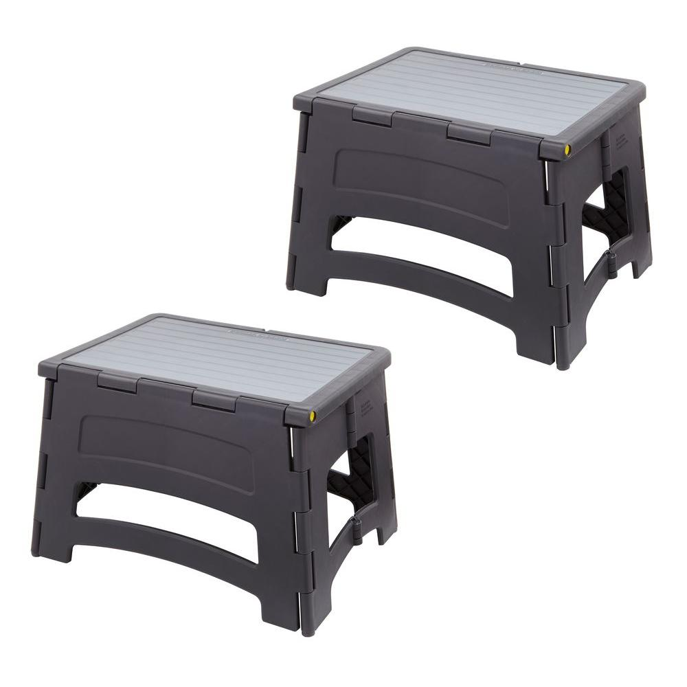 1-Step Plastic Folding Step Stool ...  sc 1 st  The Home Depot : 2 step folding plastic step stool - islam-shia.org