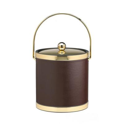 Sophisticates 3 Qt. Brown and Polished Brass Ice Bucket with Bale Handle, Metal Lid (Case of 6)