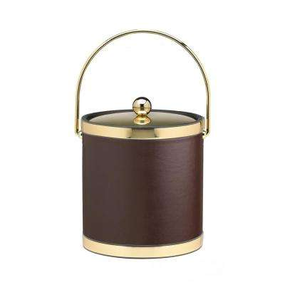 Sophisticates 3 Qt. Brown and Polished Brass Ice Bucket with Bale Handle and Metal Cover