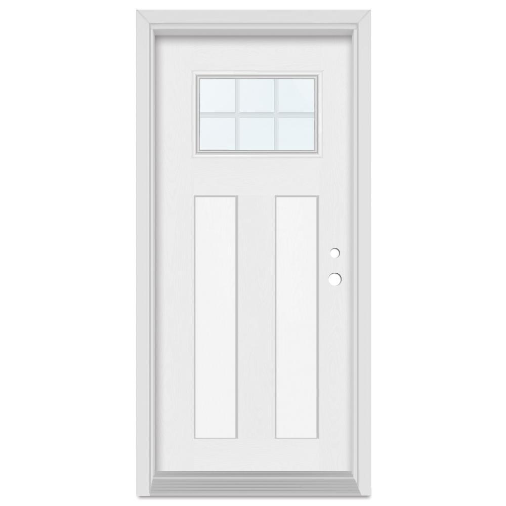 Stanley Doors 32 in. x 80 in. Infinity Left-Hand Craftsman Finished Fiberglass Mahogany Woodgrain Prehung Front Door Brickmould