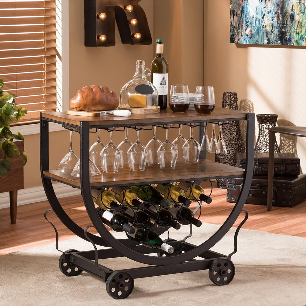 Baxton Studio Triesta Medium Brown And Bronze Wine Cart With Gl Storage