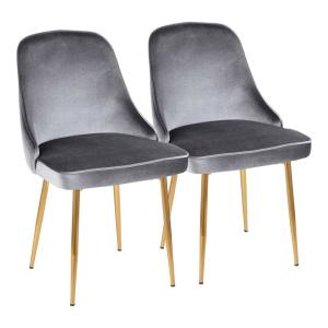 Gold and Blue Marcel Velvet Dining Chair (Set of 2)