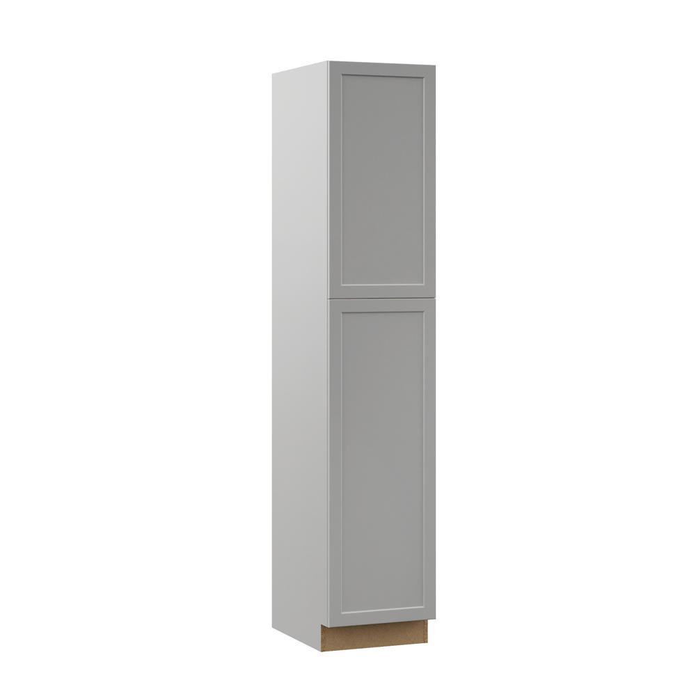 Hampton Bay Designer Series Melvern Assembled 18x90x23.75 in. Pantry  Kitchen Cabinet in Heron Gray