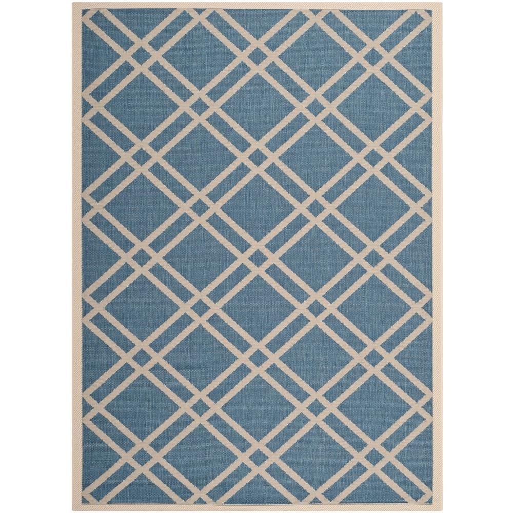 Safavieh Courtyard Blue/Beige 5 ft. 3 in. x 7 ft. 7 in. Indoor/Outdoor Area Rug