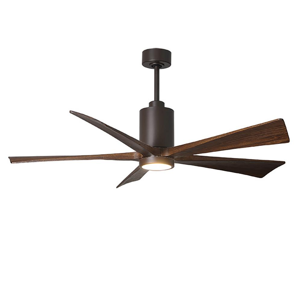 Atlas Patricia 60 in. LED Indoor/Outdoor Damp Textured Bronze Ceiling Fan with Remote Control, Wall Control