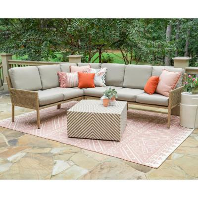 Riviera 5-Piece Wicker Outdoor Sectional with Sunbrella Cast Ash Cushions