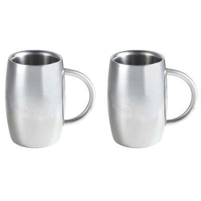 Emerald 14 oz. Stainless Steel Double Walled Beer Mugs (Set of 2)