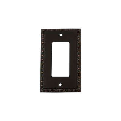 Egg and Dart Switch Plate with Single Rocker in Timeless Bronze