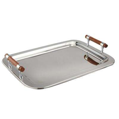 22 in. x 15.5 in. Stainless Steel Rectangular Tray with Handles