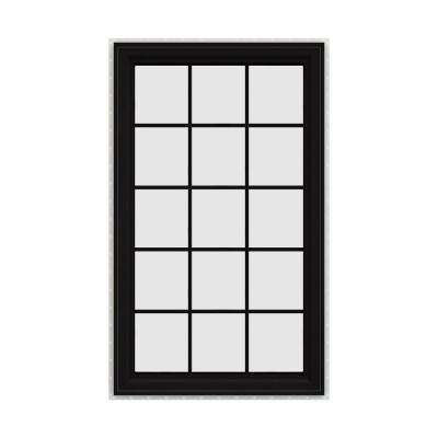 36 in. x 60 in. V-4500 Series Black FiniShield Vinyl Right-Handed Casement Window with Colonial Grids/Grilles