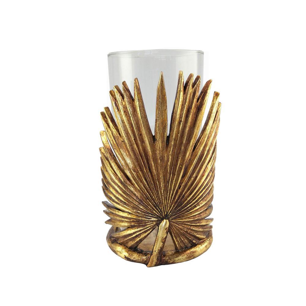 Gold Metal Fan Palm Leaf Candle Holder