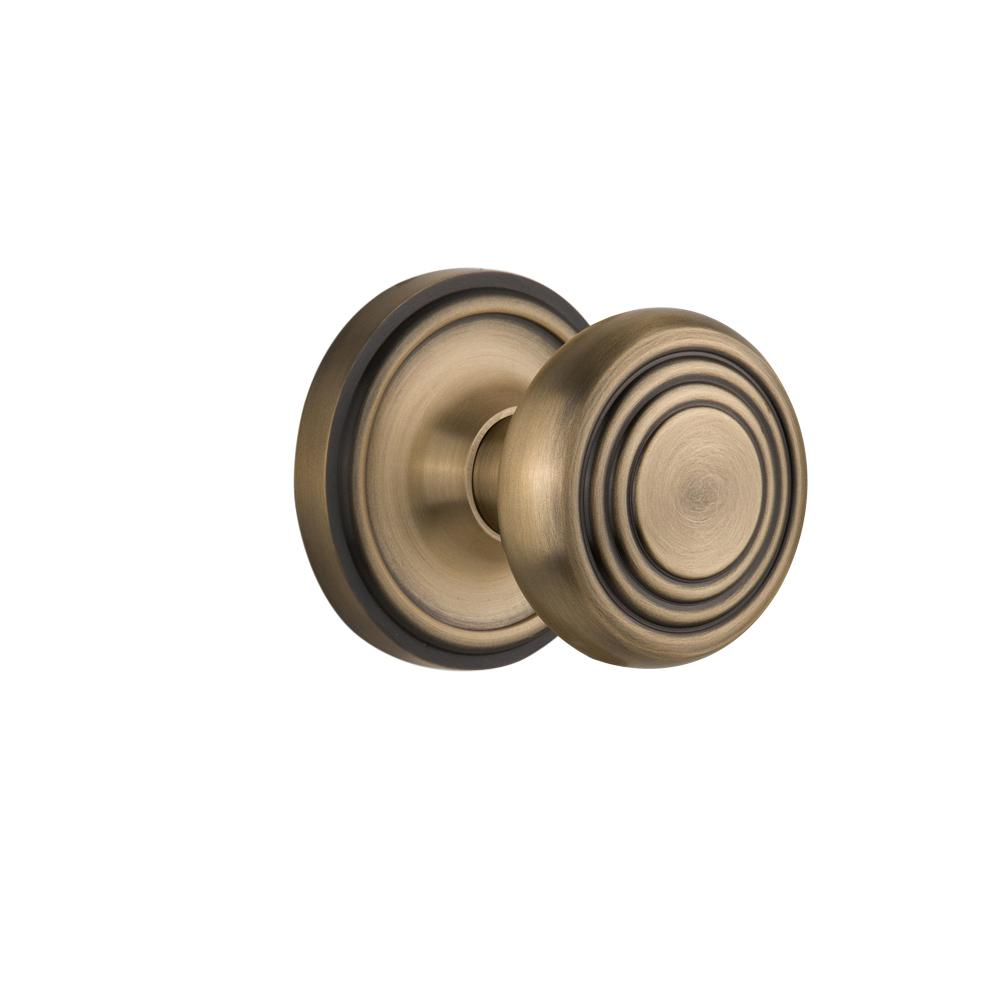 Nostalgic Warehouse Classic Rosette Interior Mortise Deco Door Knob In  Antique Brass 707072   The Home Depot