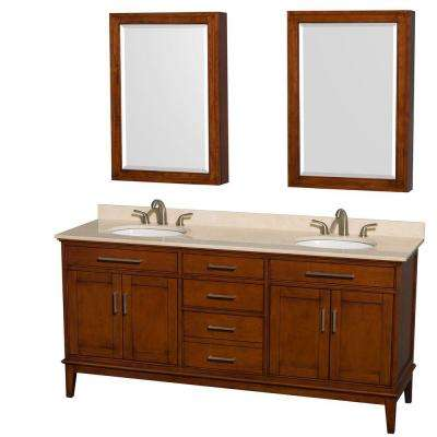 Hatton 72 in. Vanity in Light Chestnut with Marble Vanity Top in Ivory, Sink and Medicine Cabinet