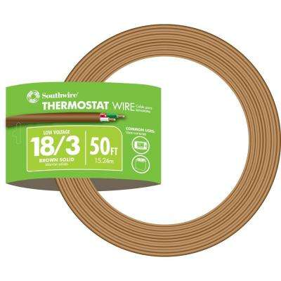 50 ft. 18/3 Brown Solid CU CL2 Thermostat Wire