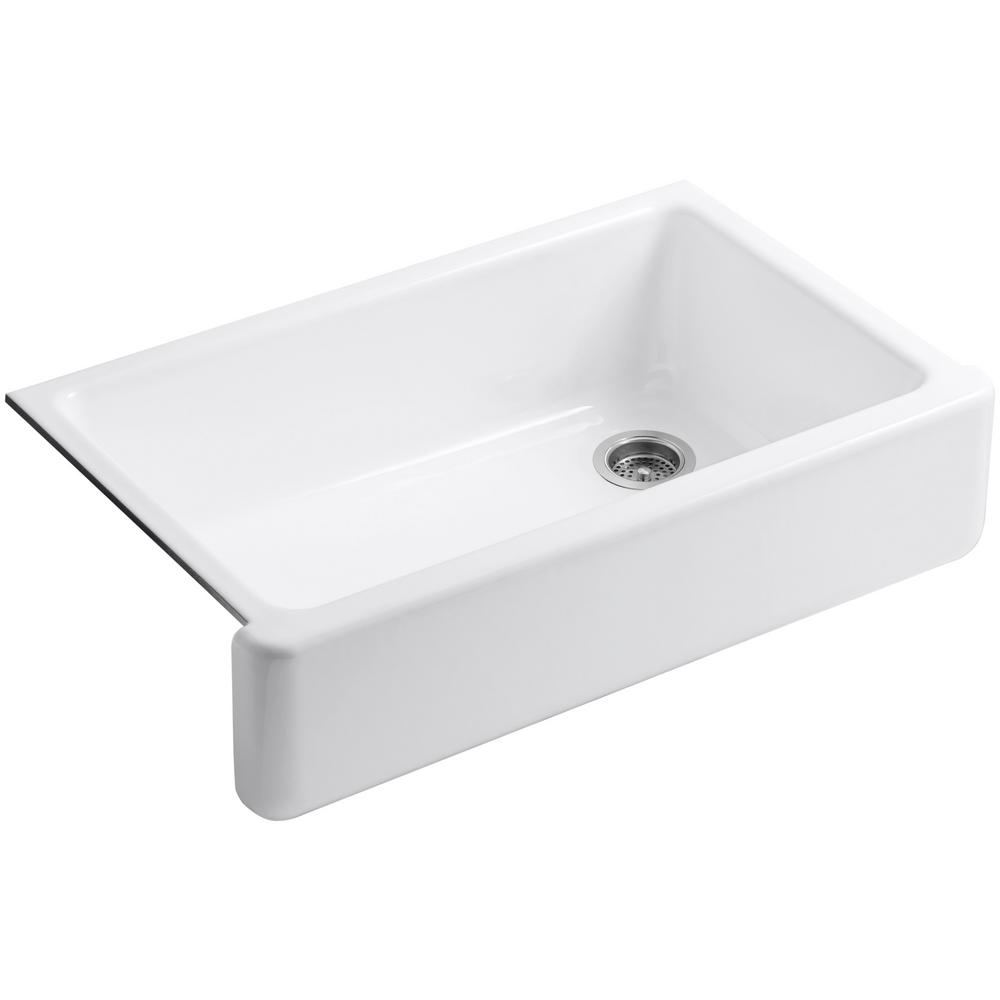 KOHLER Whitehaven Undermount Farmhouse Apron Front Cast Iron 36 in. Single Bowl Kitchen Sink in White