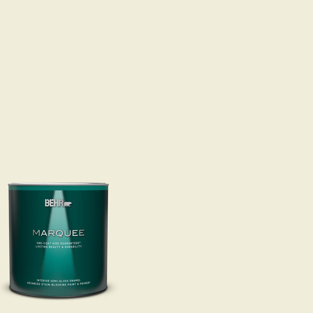 Behr Marquee 1 Qt Ppl 30 Soft Moonlight Semi Gloss Enamel Interior Paint And Primer In One 345004 The Home Depot
