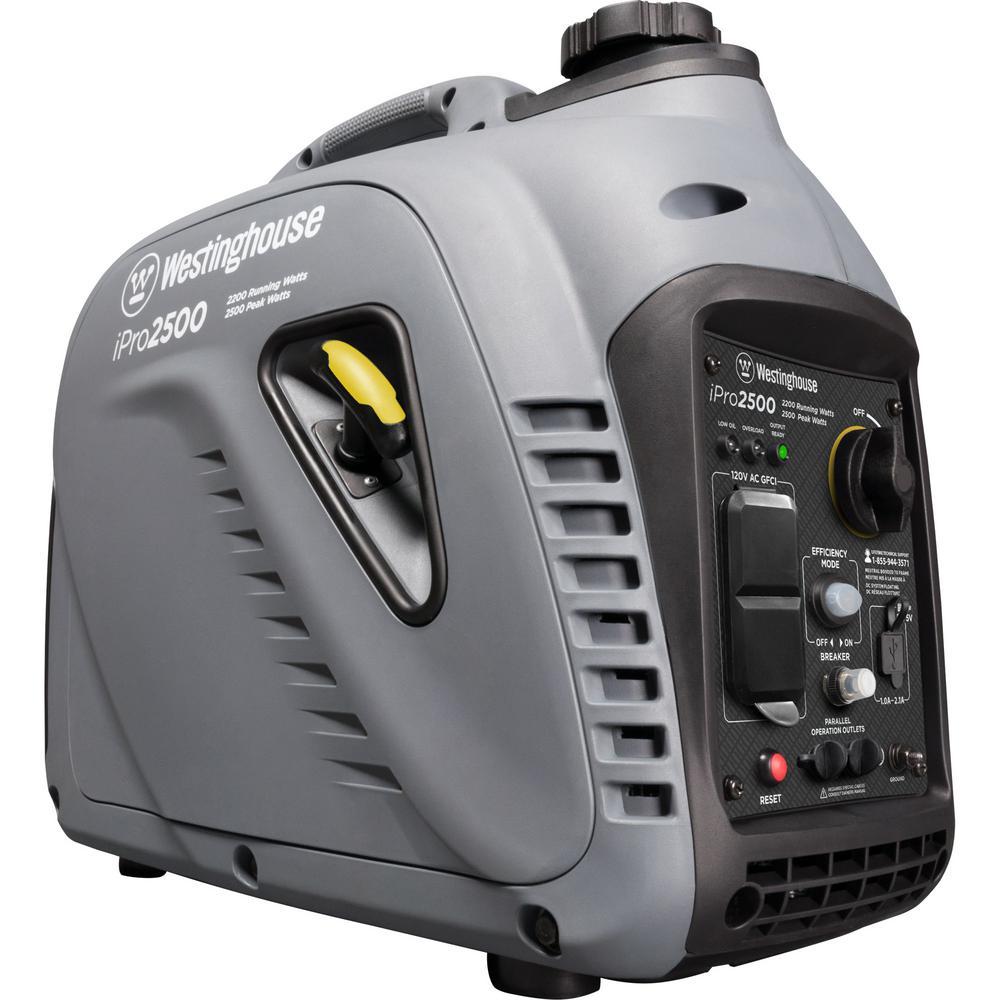 iPro2500 2,500/2,200-Watt Gas Powered Portable Inverter Generator with OSHA Compliant GFCI Protection