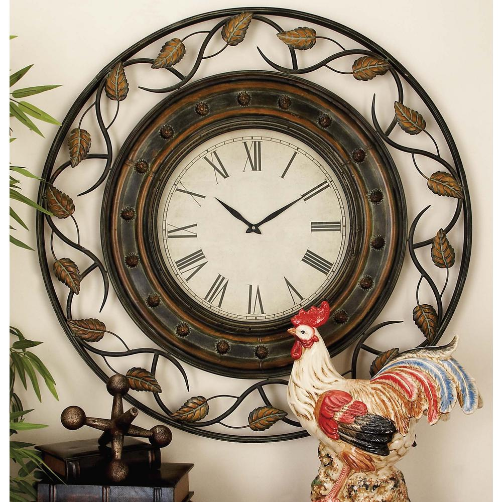 Litton Lane 36 In Riveting Leaf Round Wall Clock 57720