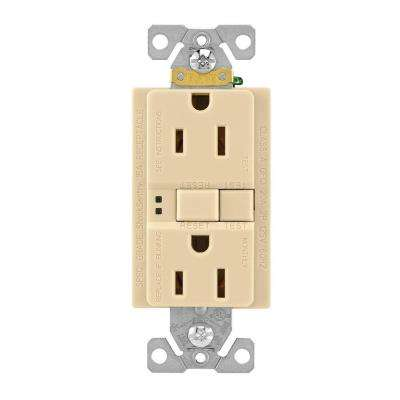GFCI Self-Test 15A -125V Duplex Receptacle with Standard Size Wallplate, Ivory