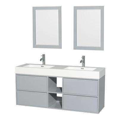 Daniella 60 in. W x 18 in. D Vanity in Dove Gray with Acrylic Vanity Top in White with White Basins and 24 in. Mirrors