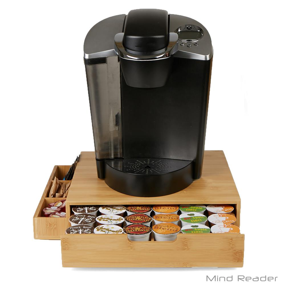 Mind Reader K Cup Drawer With Side Caddy Holds 36 K Cups In Bamboo