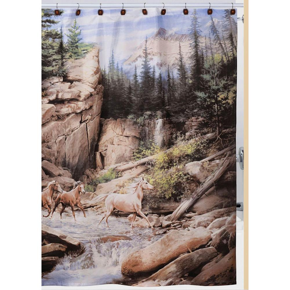 Hautman Bros Horse Canyon Nature Themed Shower Curtain Hooks Bath Rug Set In Brown White Green Gray