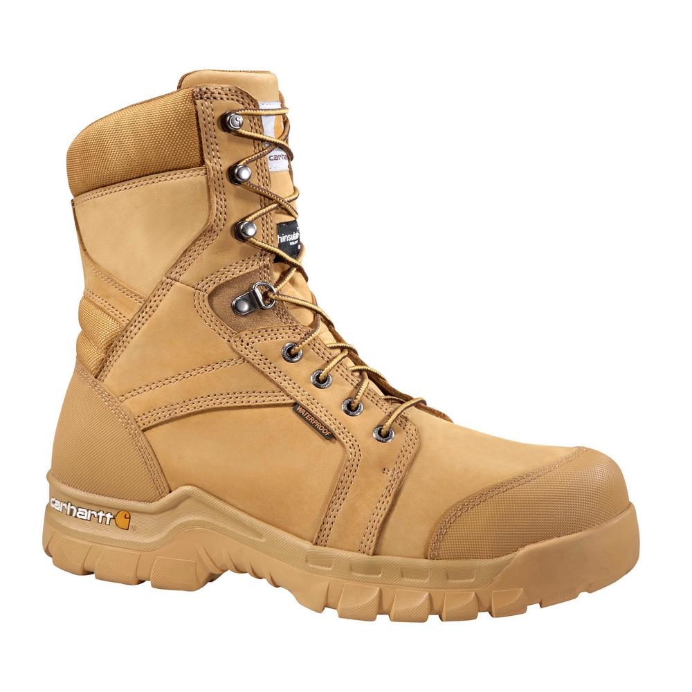 7796c18e624 Carhartt Rugged Flex Men's 08W Wheat Leather Waterproof Insulated Soft Toe  8 in. Lace-up Work Boot