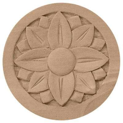 5 in. x 3/4 in. x 5 in. Unfinished Wood Cherry Bedford Rosette