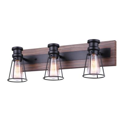 Blake 24 in. 3-Light Matte Black and Faux Wood Vanity Light