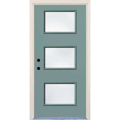 36 in. x 80 in. Surf Right-Hand 3 Lite Clear Glass Painted Fiberglass Prehung Front Door with Brickmould